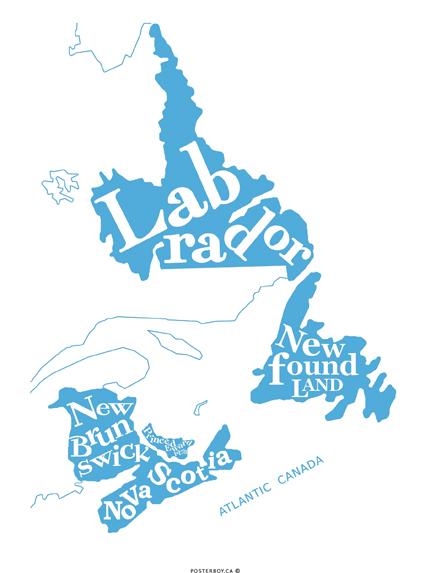 Dan Quinton's Atlantic Canada in blue.