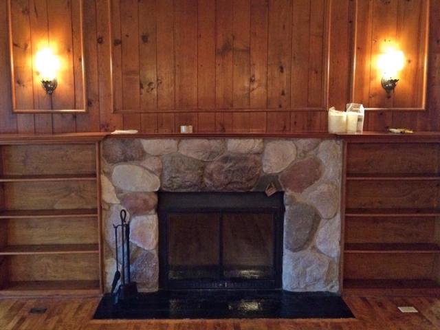 Original fireplace before renovations